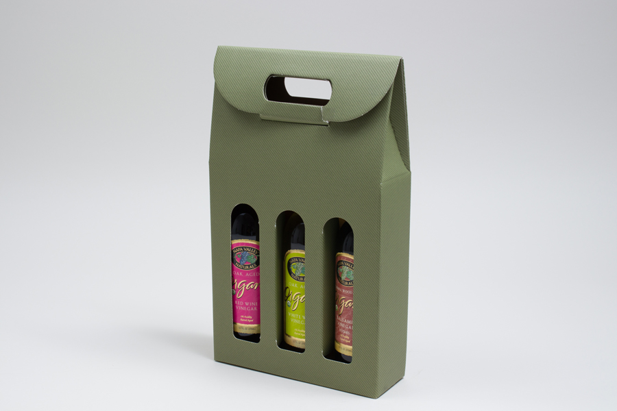 "7.875 X 2.5 X 13.25"" - SAGE GREEN OLIVE OIL BOTTLE CARRIERS WITH WINDOWS - 375ML"