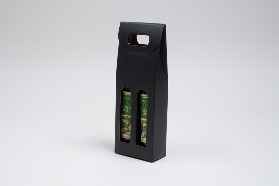 "4.25 X 2.125 X 12"" - BLACK LINEN OLIVE OIL BOTTLE CARRIERS WITH WINDOWS - 200ML"