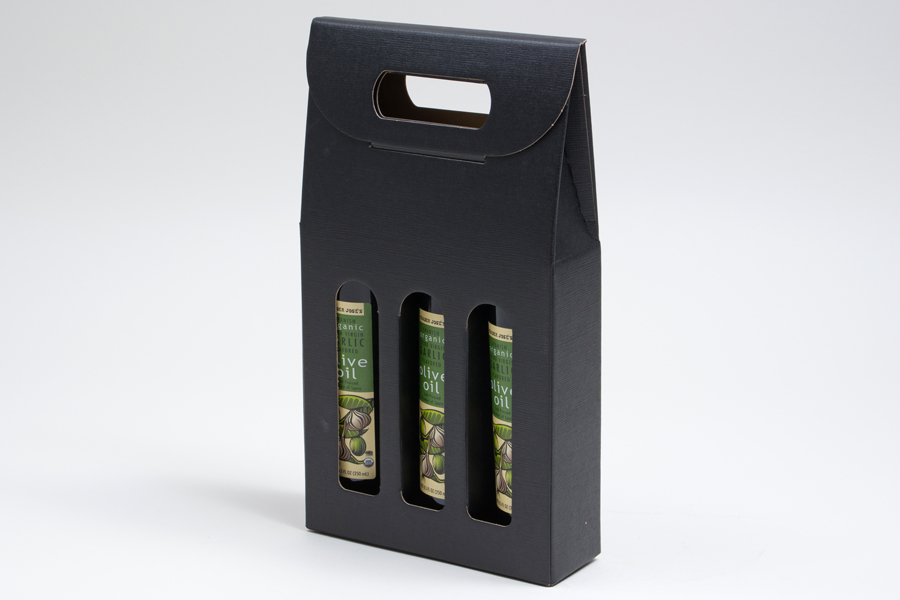 "6.625 X 2.125 X 12"" - BLACK LINEN OLIVE OIL BOTTLE CARRIERS WITH WINDOWS - 200ML"