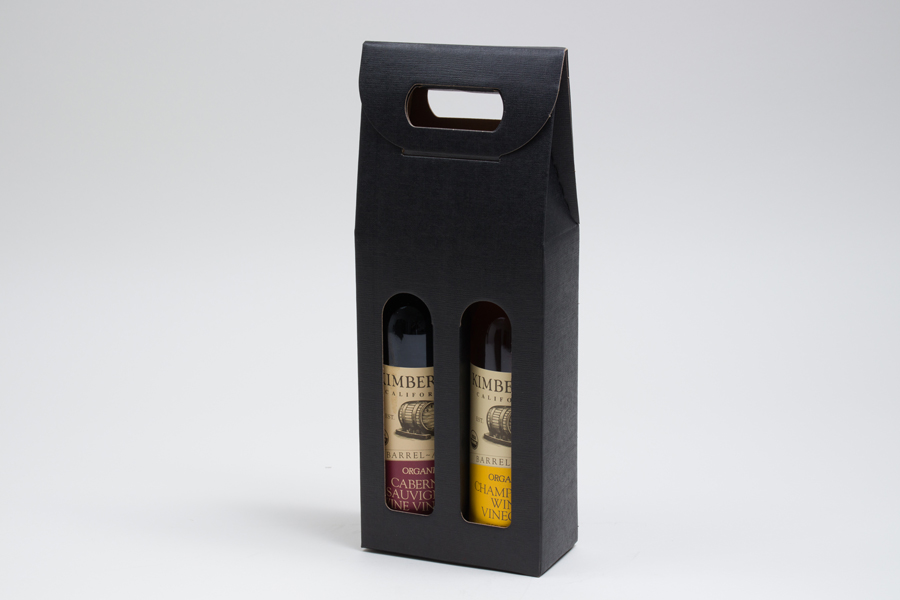 "5.125 X 2.5 X 13.25"" - BLACK LINEN OLIVE OIL BOTTLE CARRIERS WITH WINDOWS - 375ML"