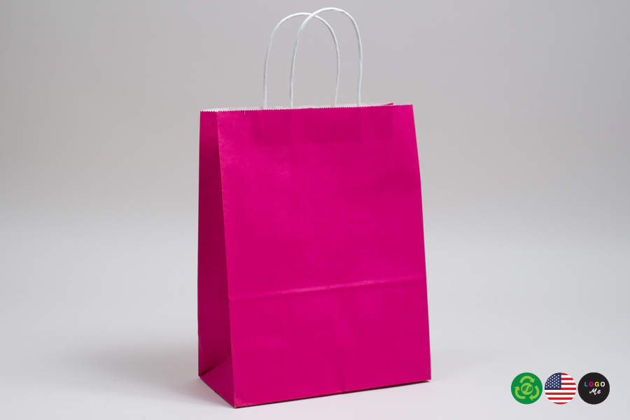 8 x 4.5 x 10.25 CERISE PINK COLOR TINTED PAPER SHOPPING BAGS