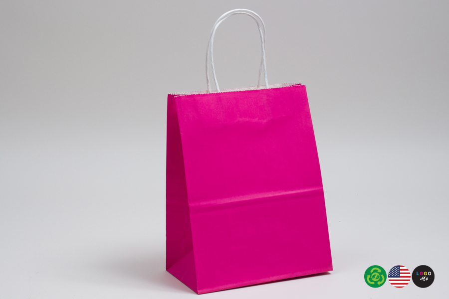 10 x 5 x 13 CERISE PINK COLOR TINTED PAPER SHOPPING BAGS