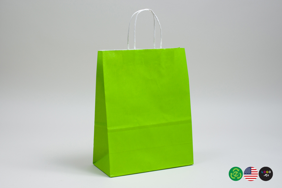 8 x 4.5 x 10.25 CITRUS GREEN COLOR TINTED PAPER SHOPPING BAGS