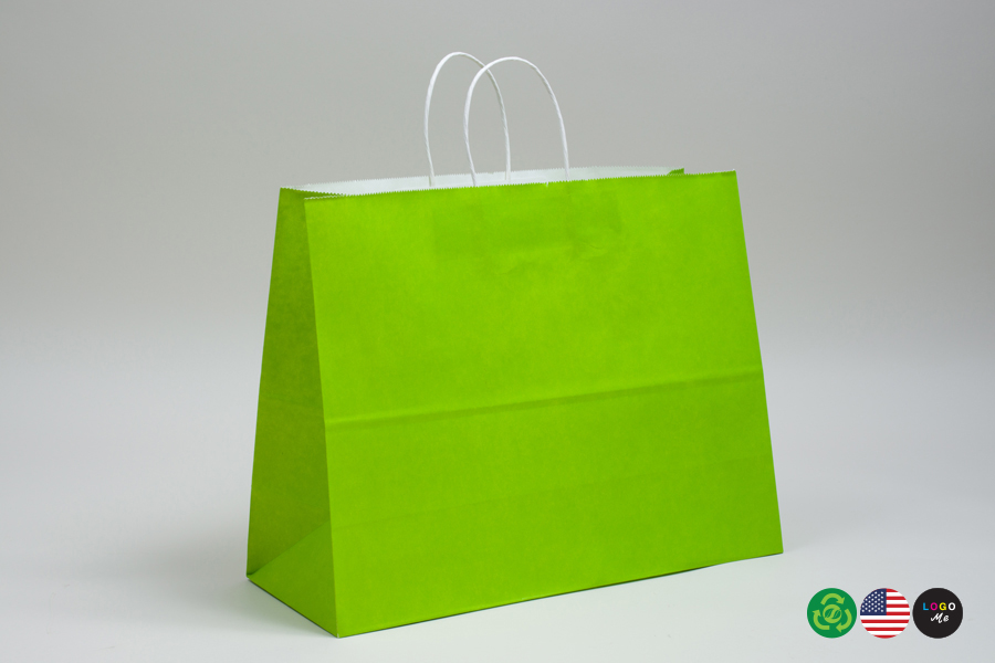 16 x 6 x 12 CITRUS GREEN COLOR TINTED PAPER SHOPPING BAGS