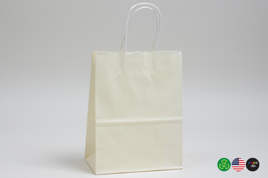 10 x 5 x 13 FRENCH VANILLA COLOR TINTED PAPER SHOPPING BAGS