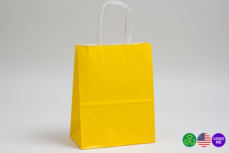 10 x 5 x 13 BUTTERCUP YELLOW COLOR TINTED PAPER SHOPPING BAGS