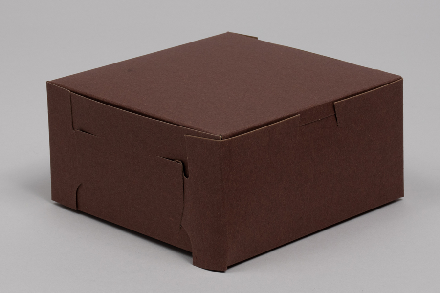 6 x 6 x 3 CHOCOLATE ONE-PIECE BAKERY BOXES