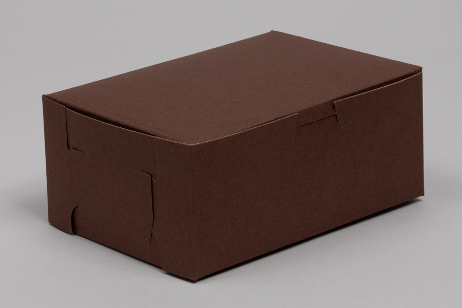 7 x 5 x 3 CHOCOLATE ONE-PIECE BAKERY BOXES