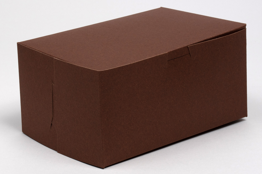 9 x 5 x 4 CHOCOLATE ONE-PIECE BAKERY BOXES