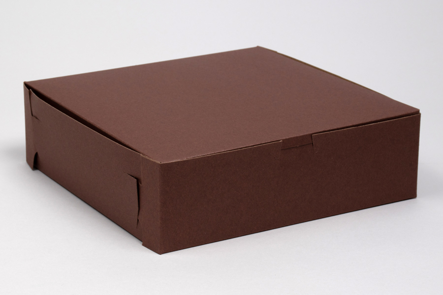 9 x 9 x 2-1/2 CHOCOLATE ONE-PIECE BAKERY BOXES