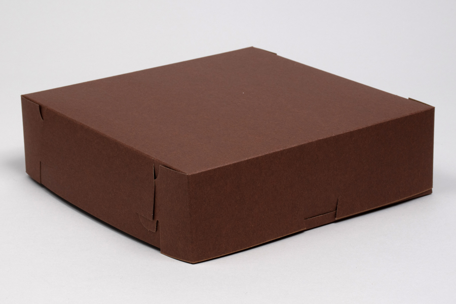 10 x 10 x 3 CHOCOLATE ONE-PIECE BAKERY BOXES
