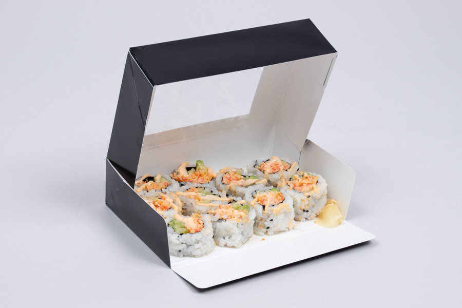 6.5 X 4.5 X 1.75 BLACK GLOSS SUSHI BOXES WITH VIEW WINDOWS