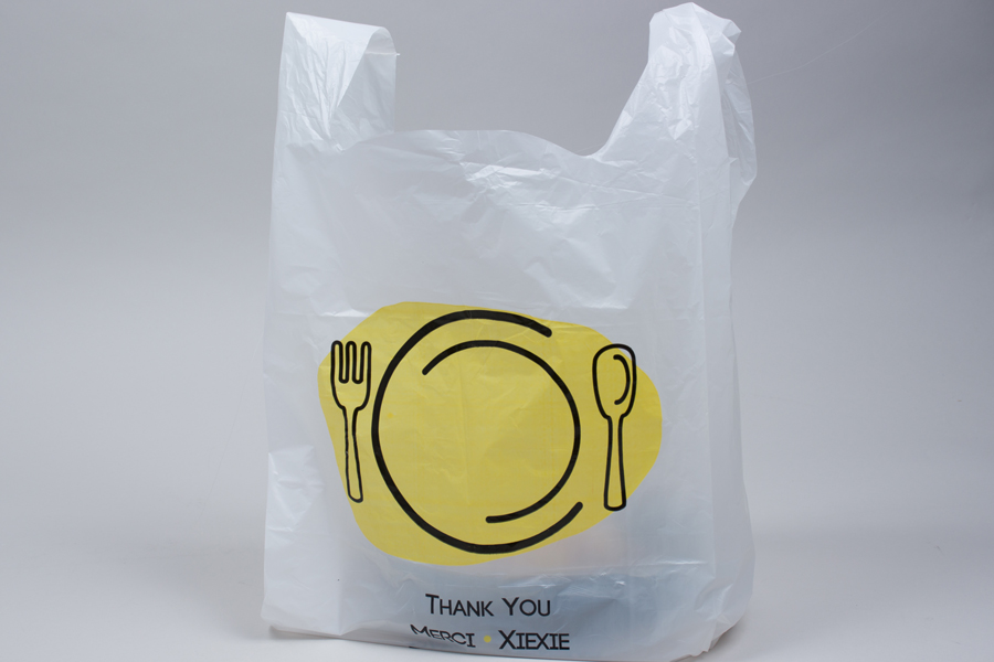 12 x 7 x 22 THANK YOU WHITE PLASTIC HIGH-DENSITY T-SHIRT BAGS