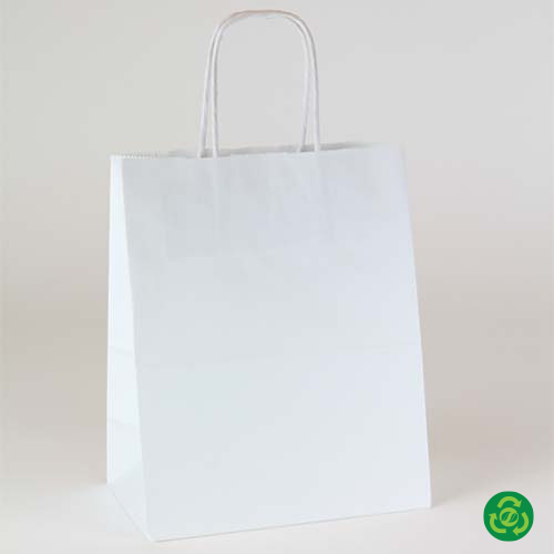 8 x 4.75 x 10.5 ECONOMY WHITE KRAFT PAPER SHOPPING BAGS