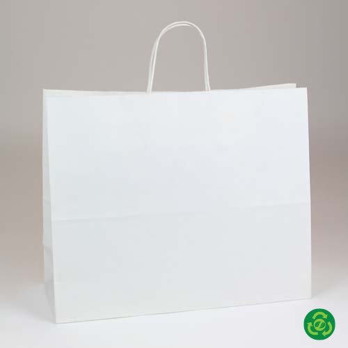 16 x 6 x 12.5 ECONOMY WHITE KRAFT PAPER SHOPPING BAGS