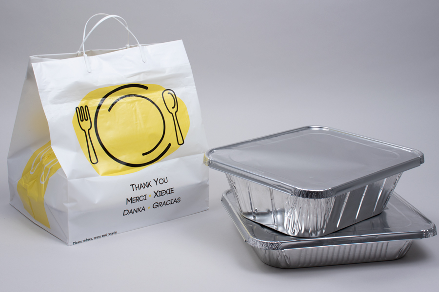 12 x 10 x 14 THANK YOU WHITE PLASTIC HIGH-DENSITY CLIP LOOP TAKEOUT BAGS