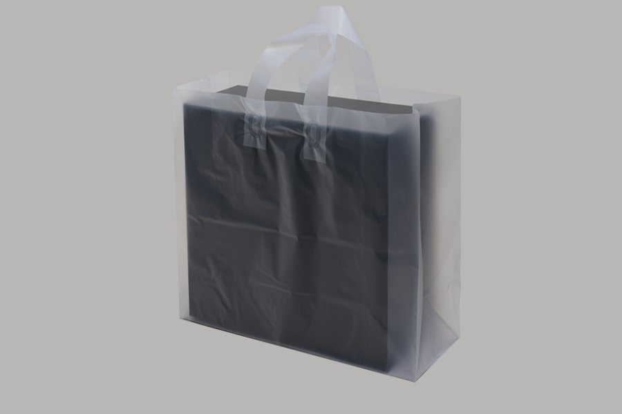 14 x 10 x 15 CLEAR FROSTED LOOP-HANDLE PLASTIC BAGS - 4 mil