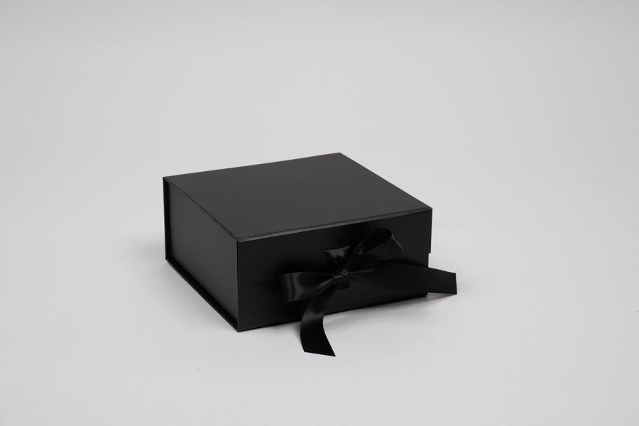 6 x 6 x 2-3/4 MATTE BLACK MAGNETIC LID GIFT BOXES WITH RIBBON
