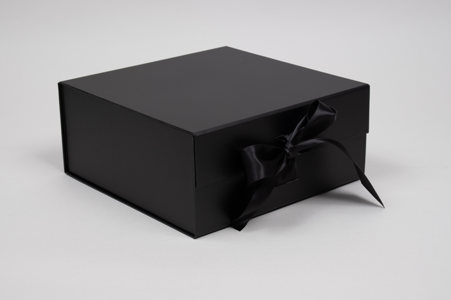 10 x 10 x 4-1/2 MATTE BLACK MAGNETIC LID GIFT BOXES WITH RIBBON