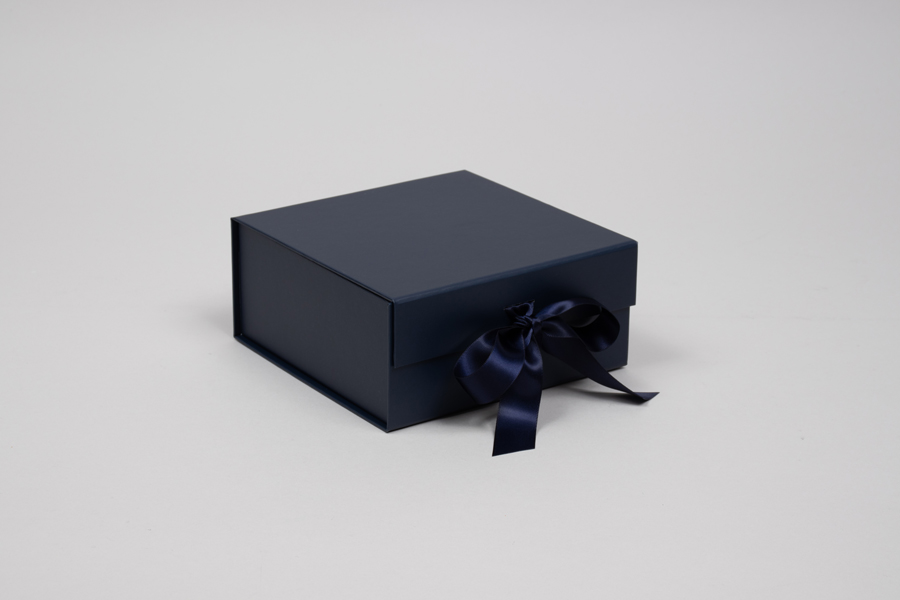 6 x 6 x 2-3/4 MATTE NAVY MAGNETIC LID GIFT BOXES WITH RIBBON