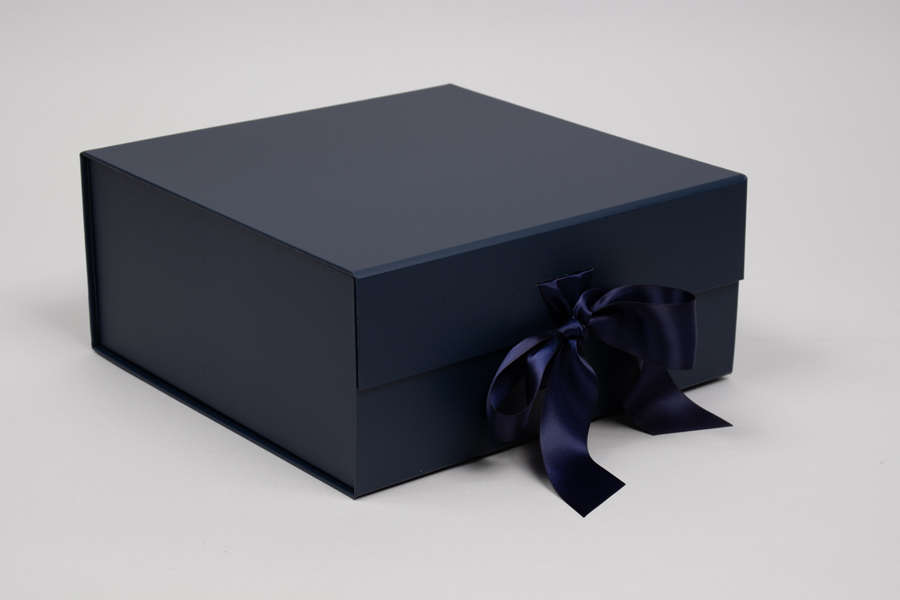 10 x 10 x 4-1/2 MATTE NAVY MAGNETIC LID GIFT BOXES WITH RIBBON