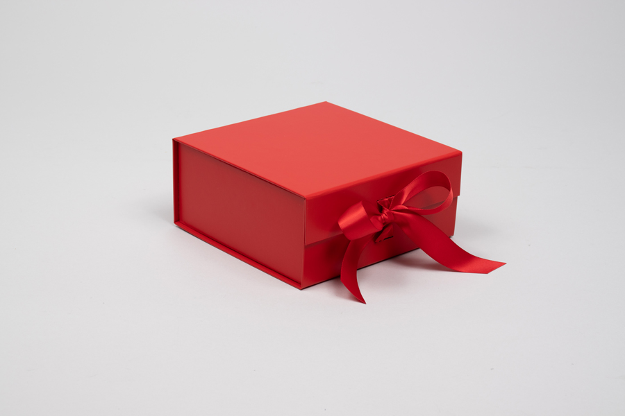 6 x 6 x 2-3/4 MATTE RED MAGNETIC LID GIFT BOXES RIBBON