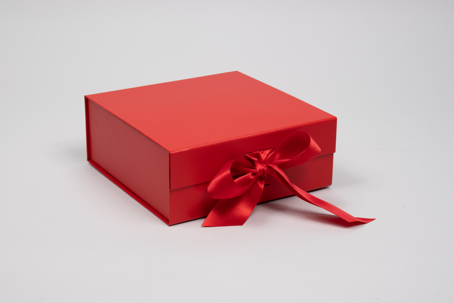 8 x 8 x 3-1/8  MATTE RED MAGNETIC LID GIFT BOXES WITH RIBBON