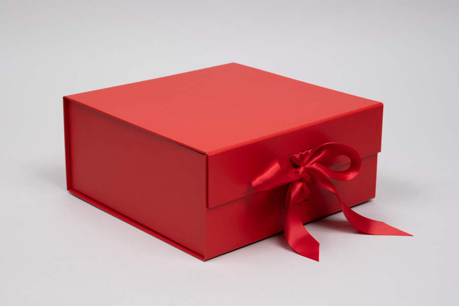 10 x 10 x 4-1/2 MATTE RED MAGNETIC LID GIFT BOXES WITH RIBBON