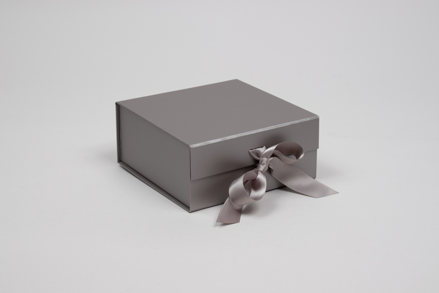 6 x 6 x 2-3/4 MATTE SILVER MAGNETIC LID GIFT BOXES WITH RIBBON