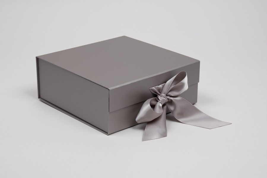 8 x 8 x 3-1/8 MATTE SILVER MAGNETIC LID GIFT BOXES WITH RIBBON