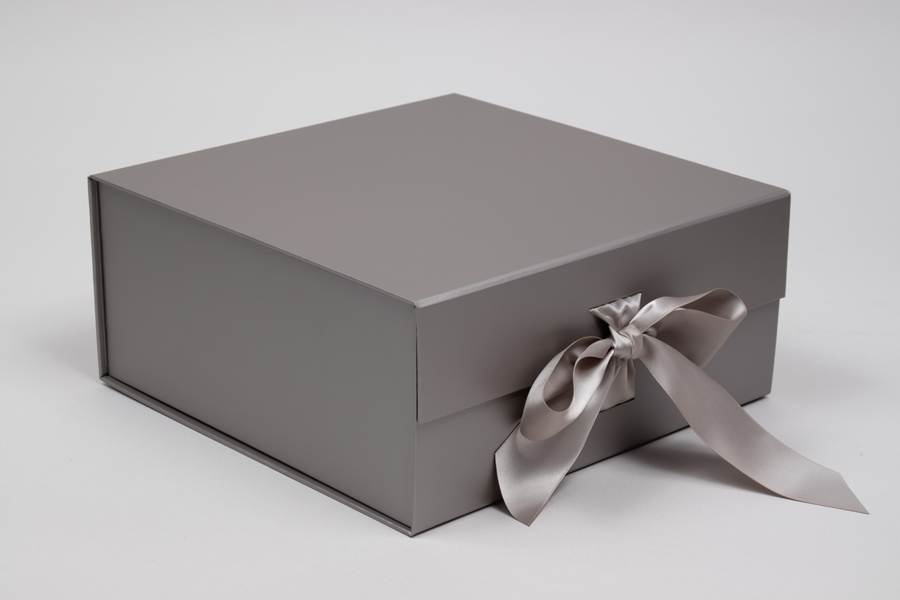 10 x 10 x 4-1/2 MATTE SILVER MAGNETIC LID GIFT BOXES WITH RIBBON