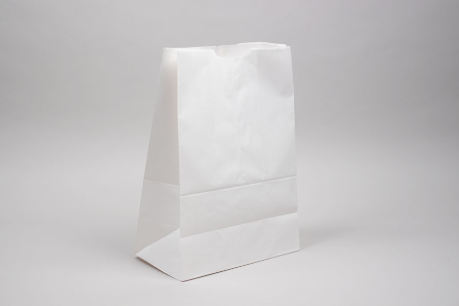 11 x 6 x 17 MODIFIED 1/6 BARREL WHITE KRAFT SOS PAPER BAGS