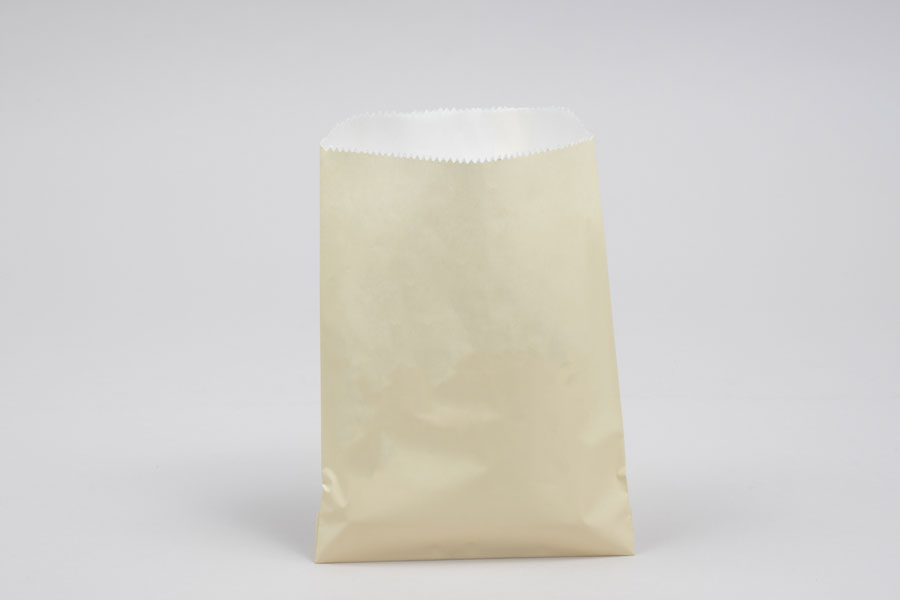 1/2# - 5-3/4 x 7-1/2 CREAM GLASSINE LINED GOURMET MERCHANDISE BAGS