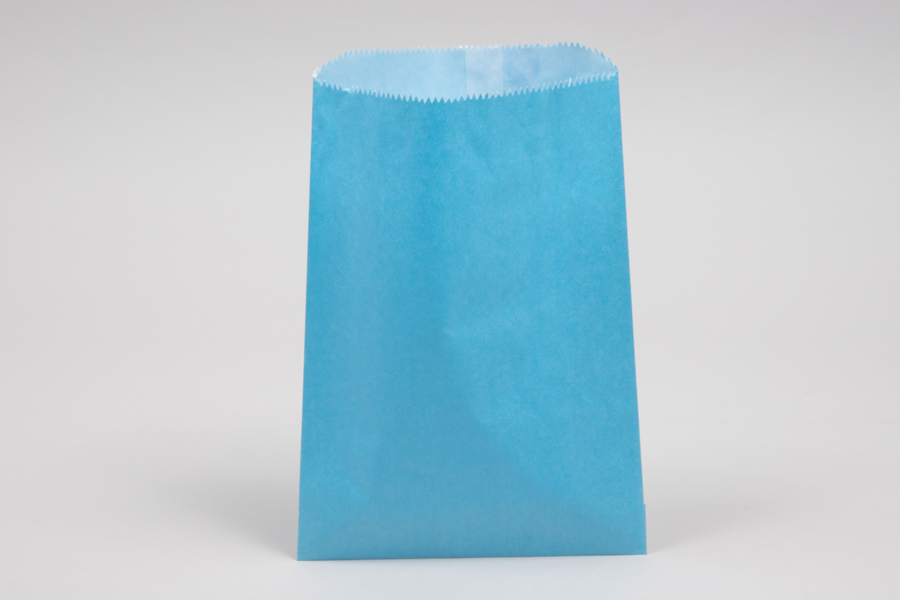 1# - 6-3/4 x 9 1/4 SKY BLUE GLASSINE LINED GOURMET MERCHANDISE BAGS