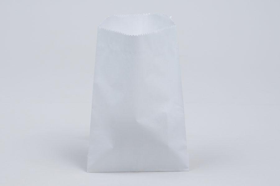 1/4# - 4-3/4 x 6-3/4 WHITE GLASSINE LINED GOURMET MERCHANDISE BAGS