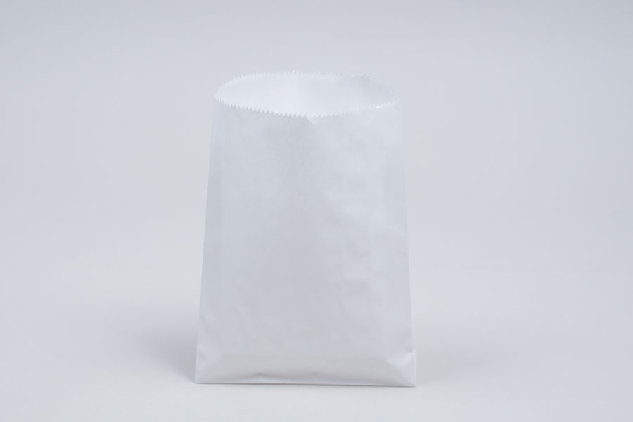 1/2# - 5-3/4 x 7-1/2 WHITE GLASSINE LINED GOURMET MERCHANDISE BAGS