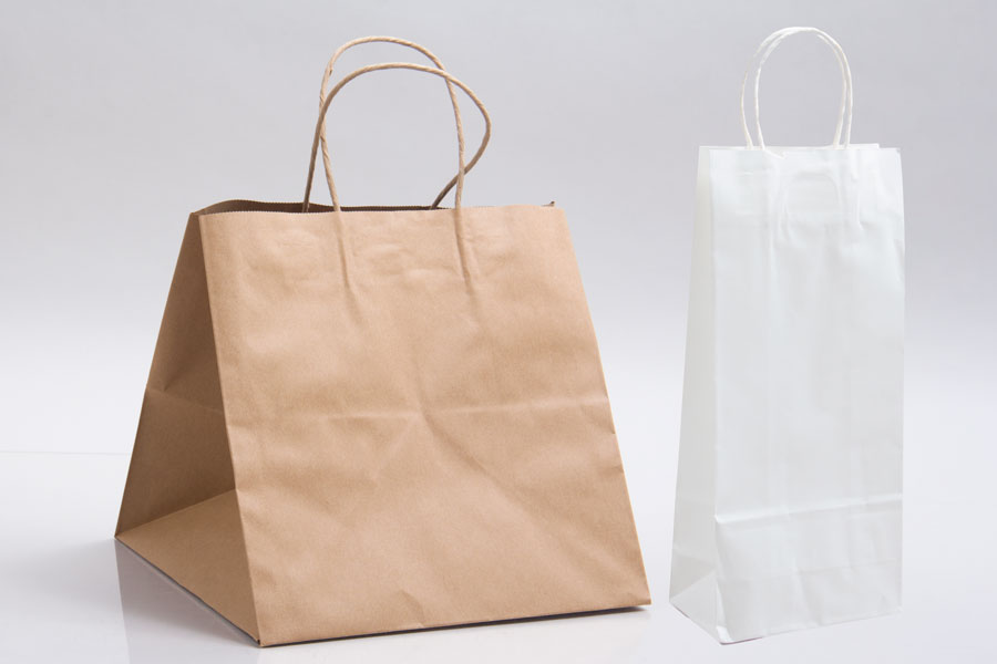 Natural Kraft & White Kraft Paper Shopping Bags