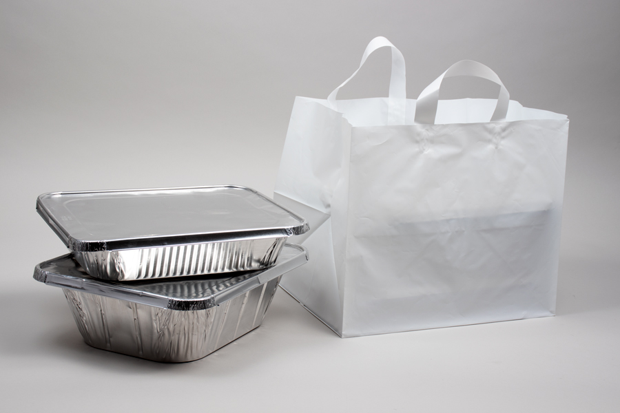 14 X 11.5 X 12 WHITE PLASTIC CATERING BAGS WITH SOFT LOOP HANDLES