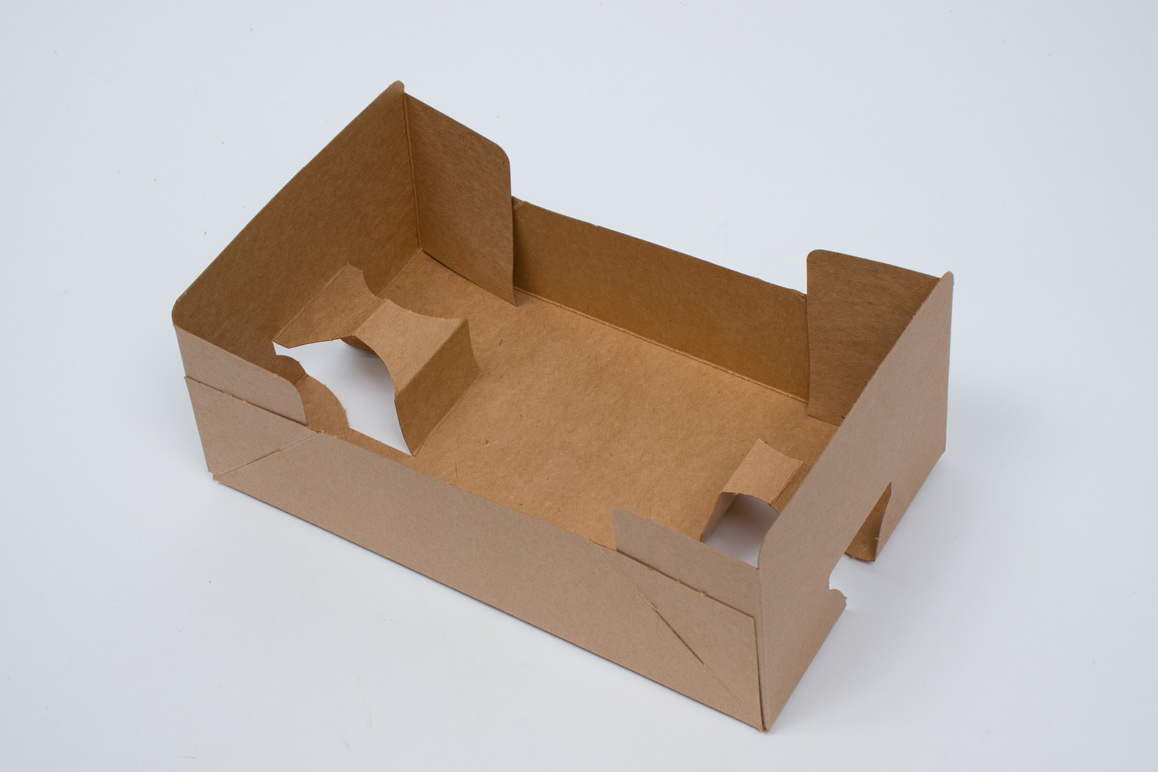 9-7/8 x 5-7/8 x 2-1/2 NATURAL KRAFT J-TRAY FOOD AND BEVERAGE HOLDER