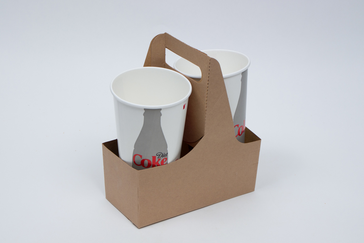 7-1/2 x 3-5/8 x 9 NATURAL KRAFT 2 DRINK CUP CARRIER – 32OZ JUMBO