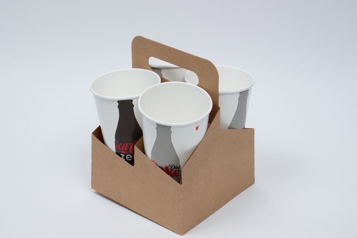 7-1/4 x 7 x 9-1/4 NATURAL KRAFT 4 DRINK CUP CARRIER – 32OZ JUMBO