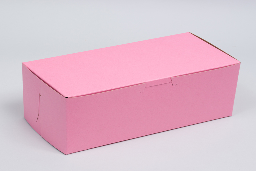 6-1/4 x 3-3/4 x 2-1/8 STRAWBERRY PINK ONE-PIECE BAKERY BOXES