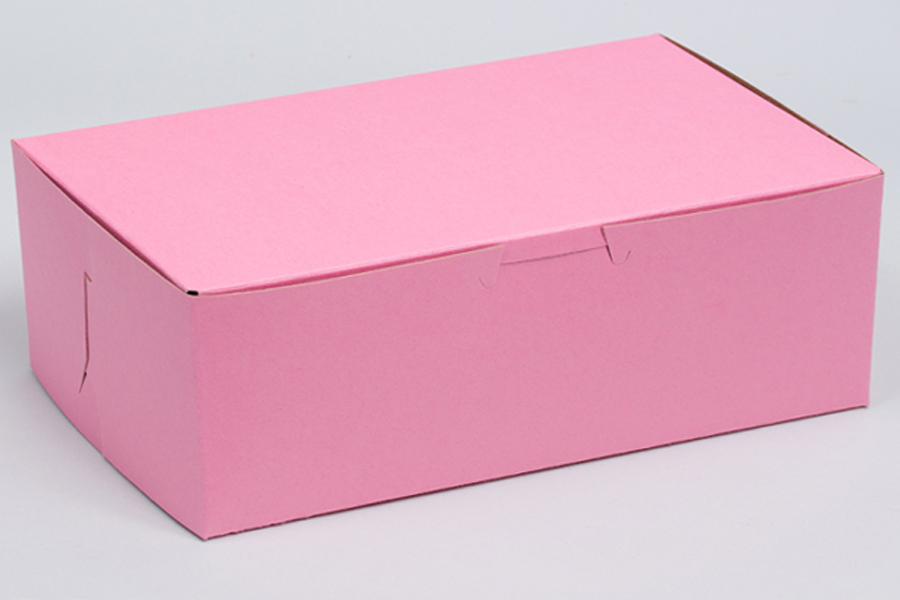 8 x 5-1/2 x 3 STRAWBERRY PINK ONE-PIECE BAKERY BOXES