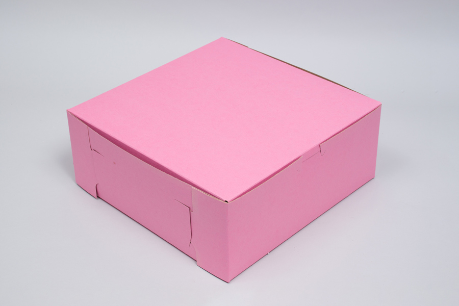 8 x 8 x 4 STRAWBERRY PINK ONE-PIECE BAKERY BOXES
