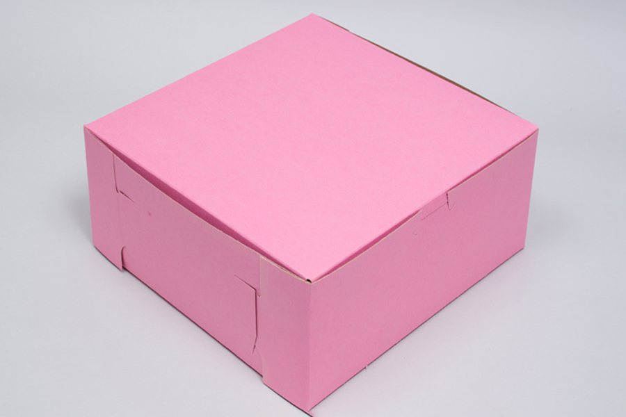 8 x 8 x 5 STRAWBERRY PINK ONE-PIECE BAKERY BOXES