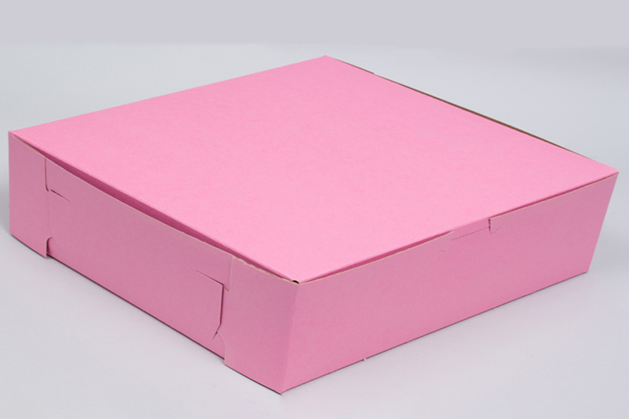 10 x 10 x 2-1/2 STRAWBERRY PINK ONE-PIECE BAKERY BOXES