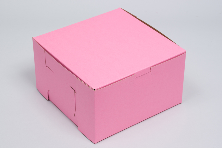 14 x 14 x 6 STRAWBERRY PINK ONE-PIECE BAKERY BOXES