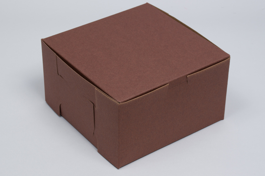 7 x 7 x 4 CHOCOLATE ONE-PIECE BAKERY/CUPCAKE BOXES