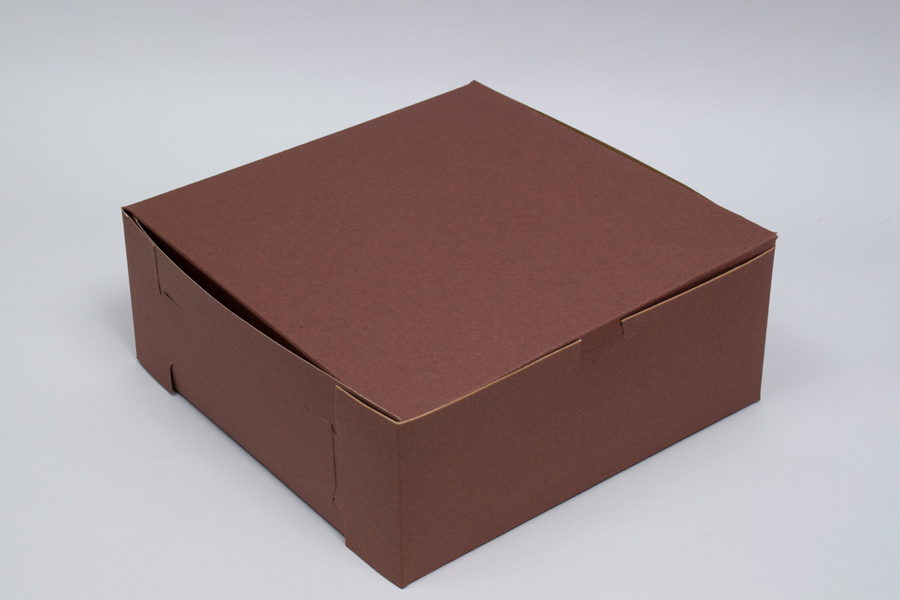 8 x 8 x 4 CHOCOLATE ONE-PIECE BAKERY/CUPCAKE BOXES