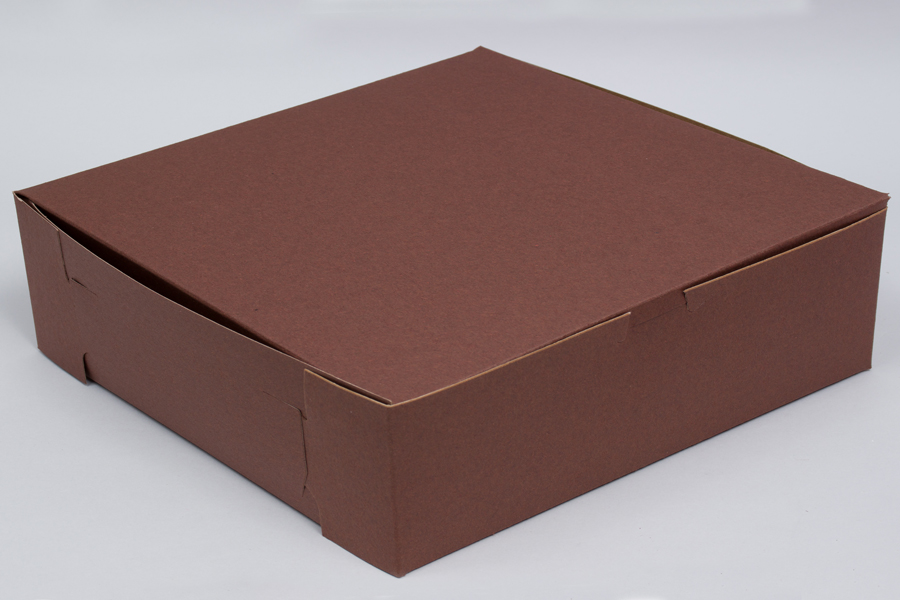 10 x 10 x 2-1/2 CHOCOLATE ONE-PIECE BAKERY/CUPCAKE BOXES